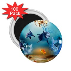 Dolphin Art Creation Natural Water 2 25  Magnets (100 Pack)