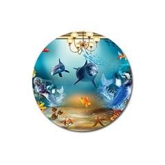 Dolphin Art Creation Natural Water Magnet 3  (round) by Sapixe