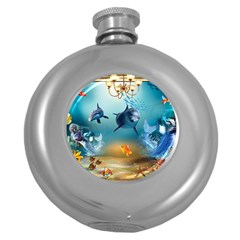 Dolphin Art Creation Natural Water Round Hip Flask (5 Oz)