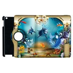 Dolphin Art Creation Natural Water Apple Ipad 3/4 Flip 360 Case