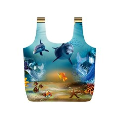 Dolphin Art Creation Natural Water Full Print Recycle Bags (s)