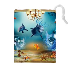 Dolphin Art Creation Natural Water Drawstring Pouches (extra Large)
