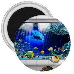 Dolphin Art Creation Natural Water 3  Magnets