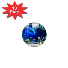Dolphin Art Creation Natural Water 1  Mini Magnet (10 Pack)