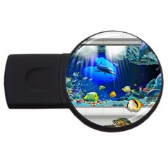 Dolphin Art Creation Natural Water Usb Flash Drive Round (4 Gb)