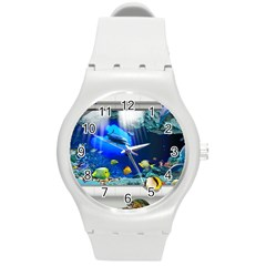 Dolphin Art Creation Natural Water Round Plastic Sport Watch (m)