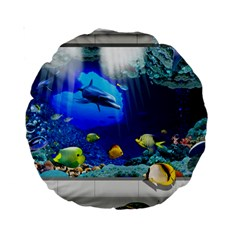 Dolphin Art Creation Natural Water Standard 15  Premium Round Cushions