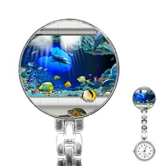 Dolphin Art Creation Natural Water Stainless Steel Nurses Watch