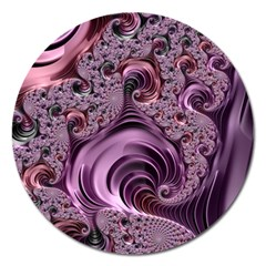 Purple Abstract Art Fractal Magnet 5  (round)