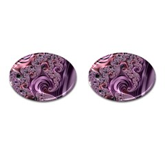 Purple Abstract Art Fractal Cufflinks (oval)