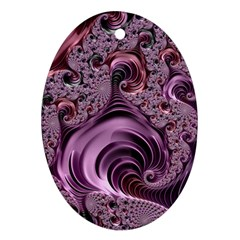 Purple Abstract Art Fractal Oval Ornament (two Sides)