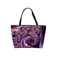 Purple Abstract Art Fractal Shoulder Handbags