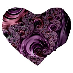 Purple Abstract Art Fractal Large 19  Premium Heart Shape Cushions