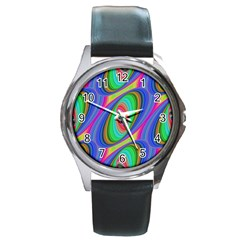 Ellipse Pattern Elliptical Fractal Round Metal Watch