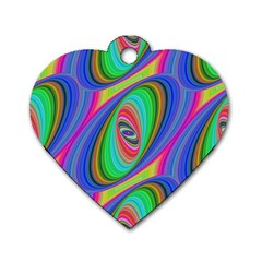 Ellipse Pattern Elliptical Fractal Dog Tag Heart (two Sides)