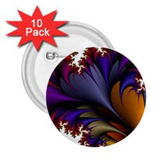 Flora Entwine Fractals Flowers 2 25  Buttons (10 Pack)