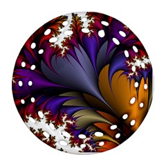 Flora Entwine Fractals Flowers Round Filigree Ornament (two Sides) by Sapixe