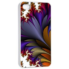 Flora Entwine Fractals Flowers Apple Iphone 4/4s Seamless Case (white)
