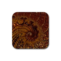 Copper Caramel Swirls Abstract Art Rubber Coaster (square)