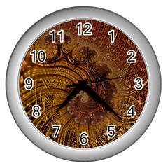 Copper Caramel Swirls Abstract Art Wall Clocks (silver)  by Sapixe