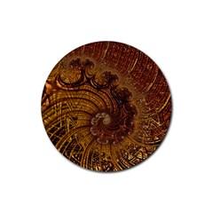 Copper Caramel Swirls Abstract Art Rubber Coaster (round)