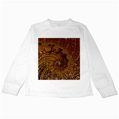 Copper Caramel Swirls Abstract Art Kids Long Sleeve T Shirts