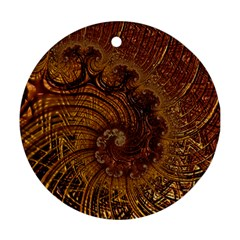 Copper Caramel Swirls Abstract Art Round Ornament (two Sides)