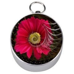 Fantasy Flower Fractal Blossom Silver Compasses