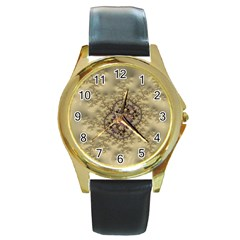 Fractal Art Colorful Pattern Round Gold Metal Watch