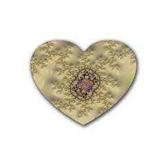 Fractal Art Colorful Pattern Rubber Coaster (heart)