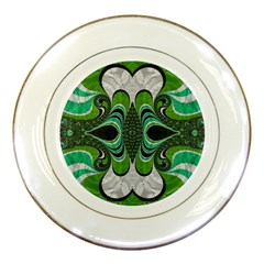 Fractal Art Green Pattern Design Porcelain Plates