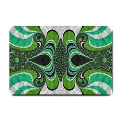 Fractal Art Green Pattern Design Small Doormat