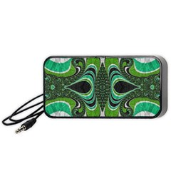 Fractal Art Green Pattern Design Portable Speaker