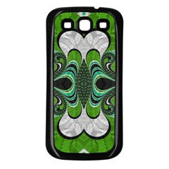 Fractal Art Green Pattern Design Samsung Galaxy S3 Back Case (black)