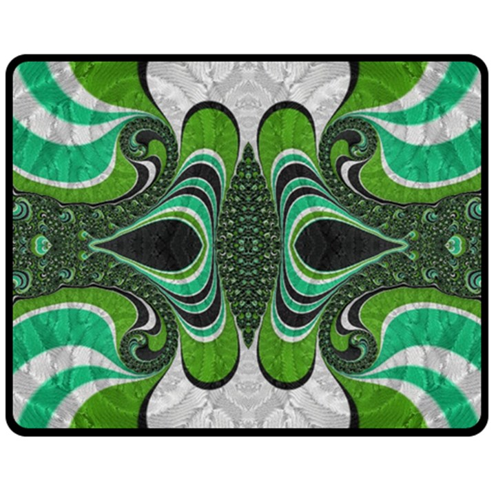 Fractal Art Green Pattern Design Double Sided Fleece Blanket (Medium)