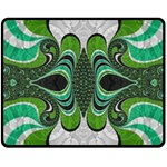 Fractal Art Green Pattern Design Double Sided Fleece Blanket (Medium)  58.8 x47.4 Blanket Back