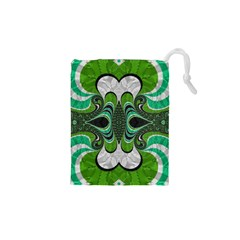 Fractal Art Green Pattern Design Drawstring Pouches (xs)
