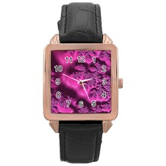Fractal Artwork Pink Purple Elegant Rose Gold Leather Watch