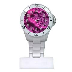 Fractal Artwork Pink Purple Elegant Plastic Nurses Watch
