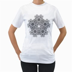 Fractal Background Foreground Women s T Shirt (white) (two Sided)