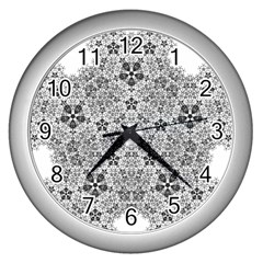Fractal Background Foreground Wall Clocks (silver)