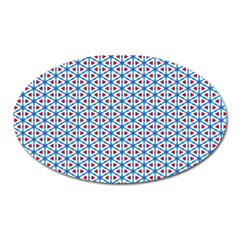 Vibrant Red And Blue Triangle Grid Oval Magnet