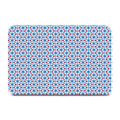 Vibrant Red And Blue Triangle Grid Plate Mats