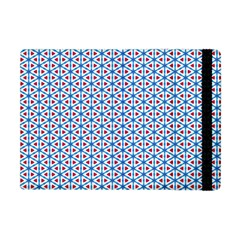 Vibrant Red And Blue Triangle Grid Apple Ipad Mini Flip Case