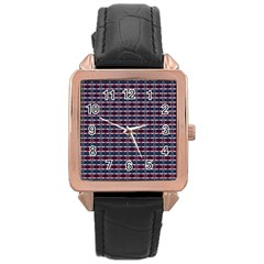Elegant Dark Stripes Rose Gold Leather Watch