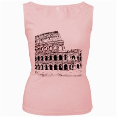 Line Art Architecture Women s Pink Tank Top