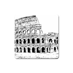Line Art Architecture Square Magnet by Sapixe