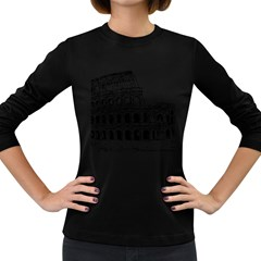 Line Art Architecture Women s Long Sleeve Dark T Shirts