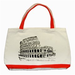 Line Art Architecture Classic Tote Bag (red)