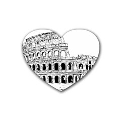 Line Art Architecture Heart Coaster (4 Pack)